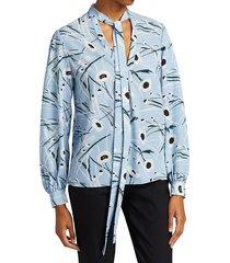 jason wu women's floral crepe de chine tie-neck blouse - ice blue - size 2