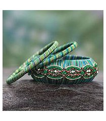 handcrafted bangle bracelets, 'dreams in aqua' (set of 3) (india)