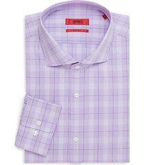 sharp-fit plaid-print dress shirt