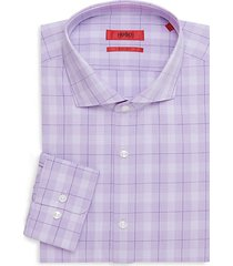 sharp-fit plaid-print dress shirt