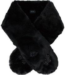 simone rocha faux fur floral beaded scarf - black