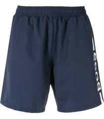 boss hugo boss logo print swim shorts - blue