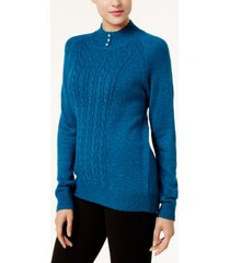 karen scott button-trim mock-neck sweater, created for macy's