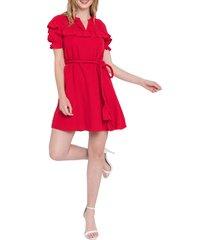 women's english factory ruffle dress, size medium - red