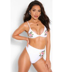 mix & match triangle applique bikini top, white