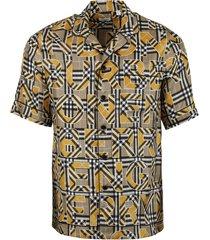archive logo check print short-sleeve shirt