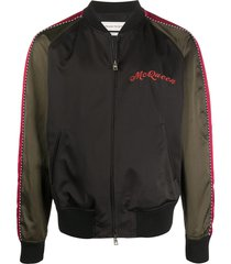 alexander mcqueen dragon embroidered bomber jacket - black