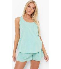 zwangerschap seersucker pyjama set met hemdje en shorts, soft green