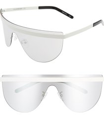 courreges 99mm flat top shield sunglasses in ivory/light blue at nordstrom