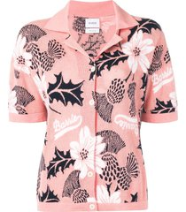 barrie floral short-sleeve cardigan - pink