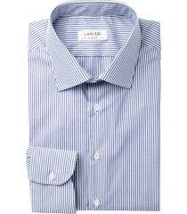 camicia da uomo su misura, ibieffe, easy iron blu righe, quattro stagioni | lanieri