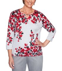 alfred dunner well red falling flowers cotton sweater