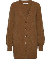 nubella long cardigan stickad tröja cardigan brun nümph
