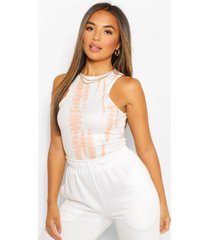 petite rib racer back tie dye top, peach