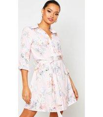 bloemenprint blouse jurk, roze