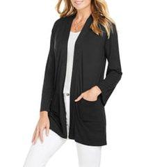women's foxcroft lessie jersey knit open front cardigan, size x-large - black