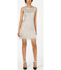 adrianna papell petite sequined & beaded fringe dress