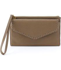 women's hobo leather wristlet - brown