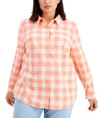 style & co plus size cotton boyfriend shirt, created for macy's