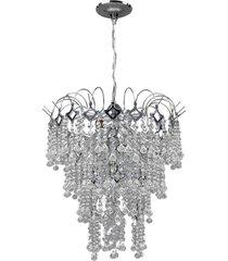 lustre shammaluz chuva de prata, 4 andares, acrílico - 40