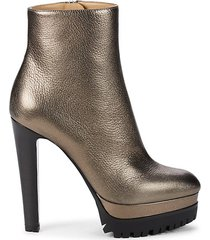 fango textured leather heeled booties