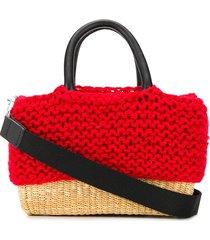 muun knit basket tote bag - red