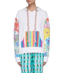 rainbow floral print hoodie
