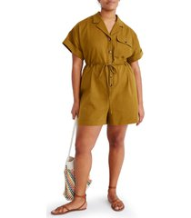 women's madewell belted safari romper, size x-small - green