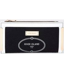 river island womens black ri metal corner purse