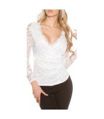 sexy kanten lange mouw shirt wikkel optiek wit