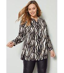 blouse sara lindholm zwart::beige
