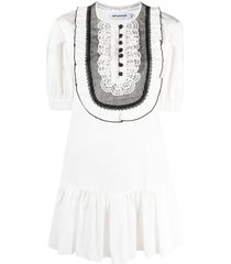 self-portrait ruffle-embellished drop-waist dress - white