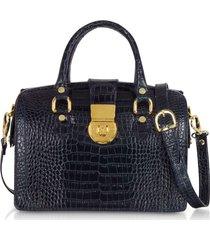 l.a.p.a. designer handbags, blue croco-stamped italian leather doctor bag