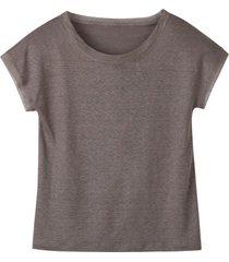 linnen-jersey shirt met korte mouw en ronde hals, taupe 36/38