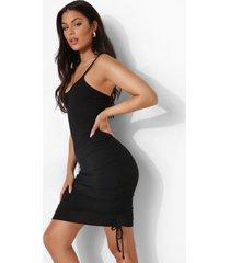 geribbelde strand jurk met touwtjes, black