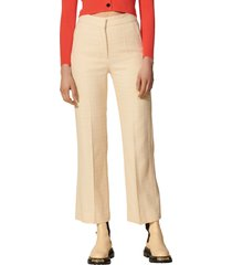 women's sandro textured ankle trousers, size 6 us - ivory