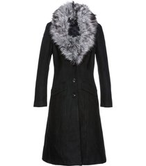 cappotto con collo in ecopelliccia (nero) - bpc selection