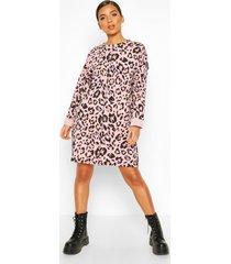 leopard print sweat dress with overlock detail, rose