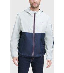 chaqueta tommy hilfiger nylon colorblock jacket blanco - calce regular