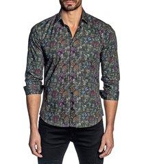 jared lang men's khaki-print button-up shirt - grey multi - size l