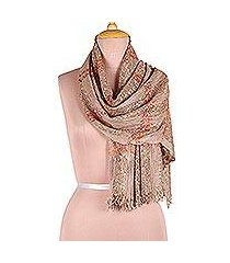viscose blend scarf, 'taupe glimmer' (india)