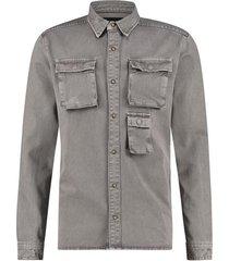 pure white purewhite   utility shirt grey