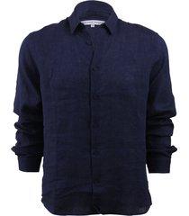 morton linen dark navy tailored linen shirt