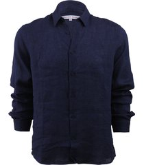 morton linen dark navy tailored linen shirt