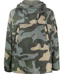 c.p. company camouflage print high collar hoodie - green