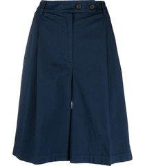 semicouture wide leg bermuda shorts - blue