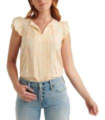 lucky brand sandra tie-string flutter-sleeve top