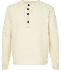 bergfabel chunky knit cropped sweater - white