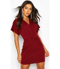 crepe twist front mini dress, red
