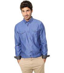 camisa azul calvin klein herringbone solid